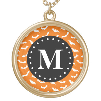 Orange Halloween Bat Pattern Black Monogram Gold Plated Necklace