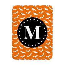 Orange Halloween Bat Pattern Black Monogram Magnet