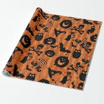 Orange Halloween Bat Pumpkin Witch Hat Owl Paper