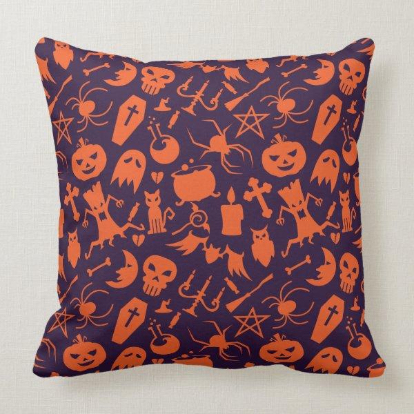 Orange Halloween elements pattern Throw Pillow