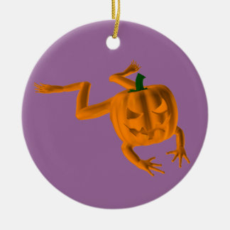 Orange Halloween Frog Double-Sided Ceramic Round Christmas Ornament