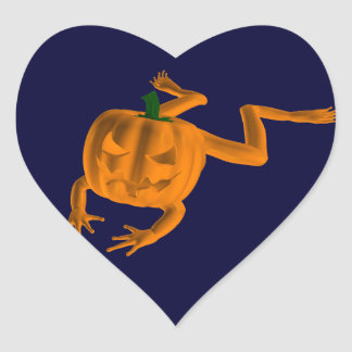 Orange Halloween Frog Heart Sticker