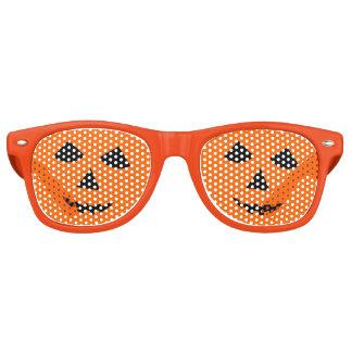 Orange Halloween Jack o Lantern Pumpkin Face Retro Sunglasses
