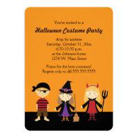 Orange Halloween Kids Costume Party Invitations