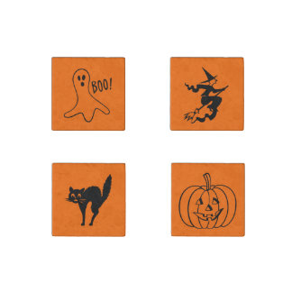 Orange Halloween Marble Magnet Set Cute Fun Spooky