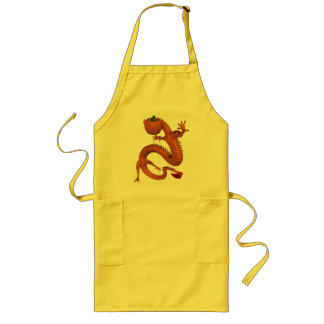 Orange Halloween Pumpkin Dragon Long Apron