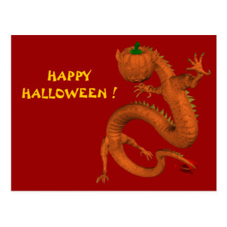 Orange Halloween Pumpkin Dragon Postcards