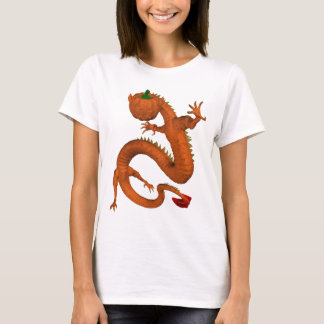 Orange Halloween Pumpkin Dragon T-Shirt