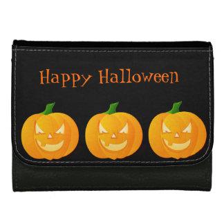 Orange Halloween Pumpkin Leather Wallet For Women