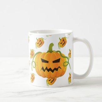 Orange Halloween Pumpkin Seamless Pattern Classic White Coffee Mug