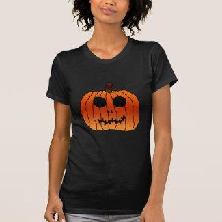 Orange Halloween Pumpkin Skeleton Face T Shirt