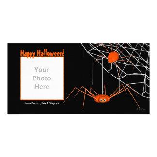 Orange Halloween Spiders Customized Photo Card