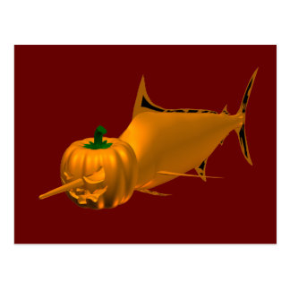 Orange Halloween Swordfish Postcard