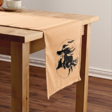 Halloween Themed Orange Halloween Witch Short Table Runner