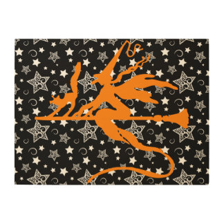 Orange Halloween Witch Wood Canvases