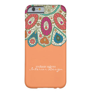 Orange Hand Drawn Henna Circle Pattern Design Barely There iPhone 6 Case