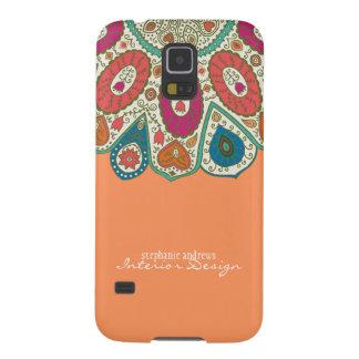 Orange Hand Drawn Henna Circle Pattern Design Galaxy S5 Case