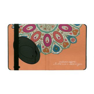 Orange Hand Drawn Henna Circle Pattern Design iPad Cover