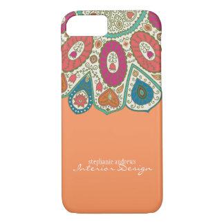 Orange Hand Drawn Henna Circle Pattern Design iPhone 7 Case