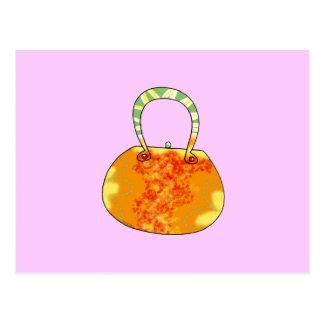 Orange handbag postcard