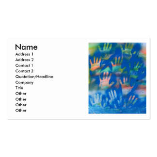 Orange hands on a blue background business card