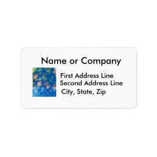 Orange hands on a blue background address label