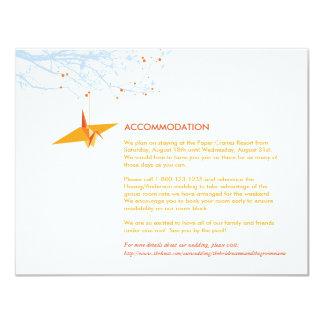 Orange Hanging Paper Cranes Wedding Insert Card