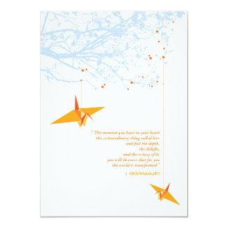 Orange Hanging Paper Cranes Wedding Invitation