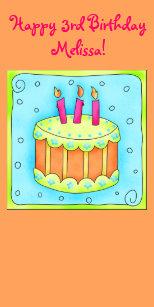 Orange Happy 3rd Birthday Cake Topper