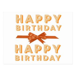 Orange Happy Birthday Bow Postcard
