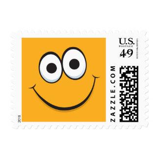 Orange happy cartoon face yellow postage stamps
