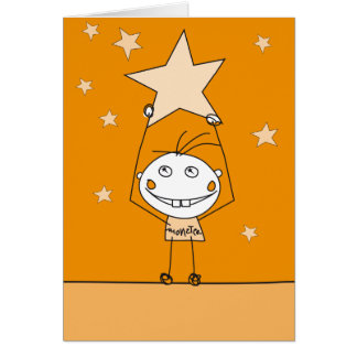 orange happy monster is catching a falling star greeting card