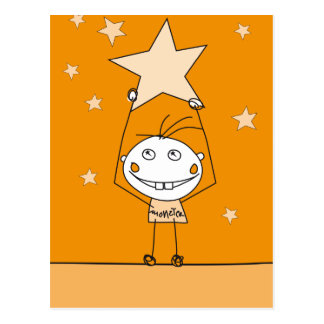 orange happy monster is catching a falling star post cards