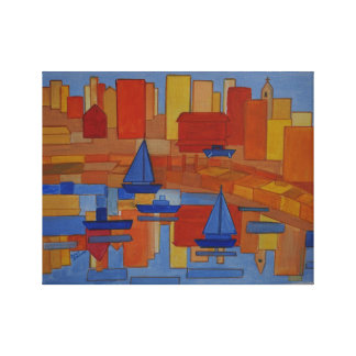 orange Harbour modern cubic art Canvas Print
