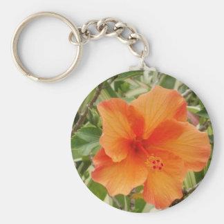 orange hawaii hibiscus plant basic round button keychain