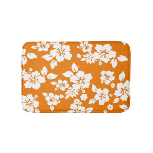 Orange Hawaiian Bathroom Mat