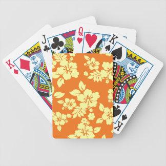 Orange Hawaiian Bicycle Playing Cards
