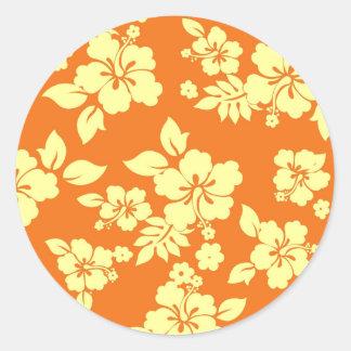 Orange Hawaiian Classic Round Sticker