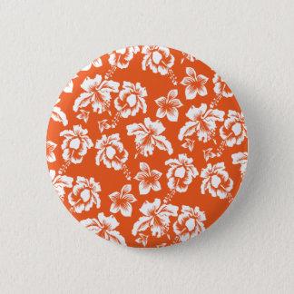 Orange Hawaiian Hibiscus Button