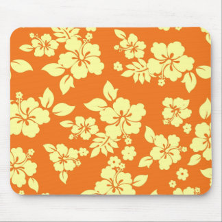 Orange Hawaiian Pattern Mouse Pad