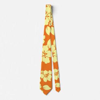 Orange Hawaiian Pattern Neck Tie