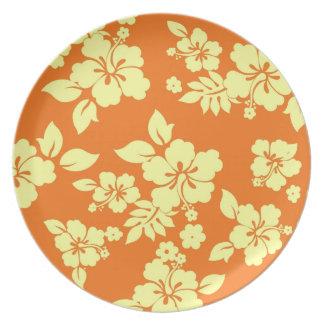 Orange Hawaiian Pattern Plate