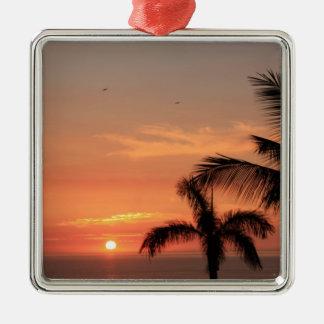 Orange Hawaiian Sunset, Birds and Palm Trees Metal Ornament