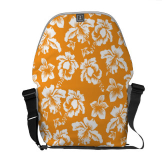 Orange Hawiaan Hibiscus Flowers Courier Bag