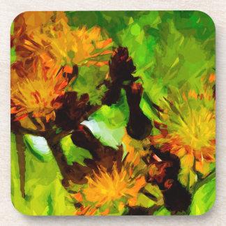 Orange Hawkweed Blossoms Abstract Impressionism Drink Coaster
