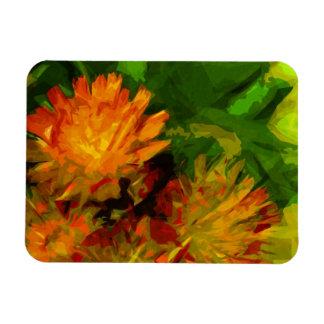 Orange Hawkweed Blossoms Abstract Impressionism Rectangular Magnet