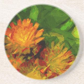Orange Hawkweed Blossoms Abstract Impressionism Sandstone Coaster