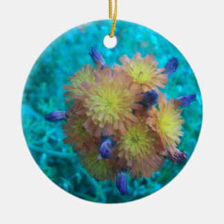Orange Hawkweed Clusters Ceramic Ornament