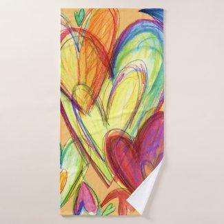 Orange Healing Hearts Art Towel