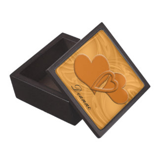 Orange Heart Connection With Textured Background Jewelry Box